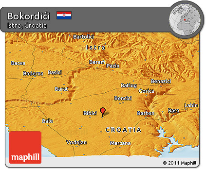 Political Panoramic Map of Bokordići