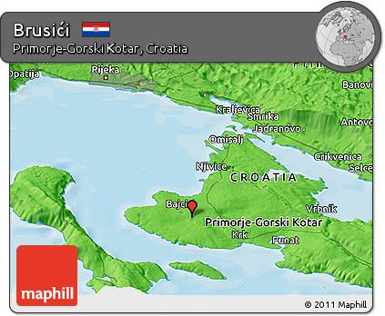 Political Panoramic Map of Brusići