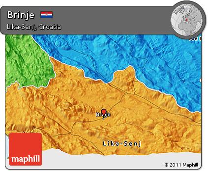 Political 3D Map of Brinje