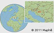 "Savanna Style Location Map of the area around 45°10'22""N,17°4'30""E"