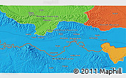 """Political 3D Map of the area around 45°10'22""""N,17°55'29""""E"""