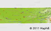 """Physical Panoramic Map of the area around 45°10'22""""N,21°19'30""""E"""