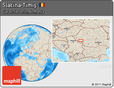 Shaded Relief Location Map of Slatina-Timiş