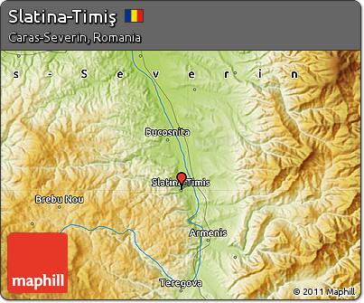 Physical Map of Slatina-Timiş