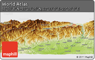 """Physical Panoramic Map of the Area around 45°10'22""""N,23°1'29""""E"""