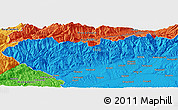 """Political Panoramic Map of the area around 45°10'22""""N,23°1'29""""E"""