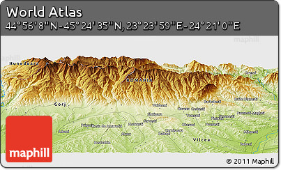 """Physical Panoramic Map of the Area around 45°10'22""""N,23°52'30""""E"""