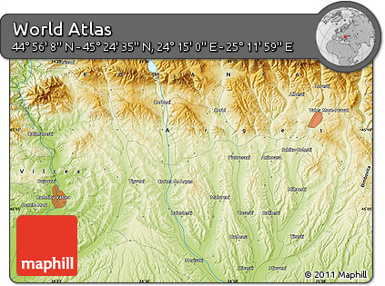 """Physical Map of the Area around 45°10'22""""N,24°43'30""""E"""