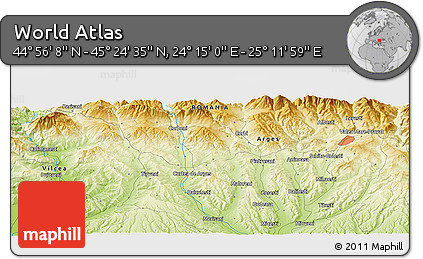 """Physical Panoramic Map of the Area around 45°10'22""""N,24°43'30""""E"""