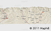 """Shaded Relief Panoramic Map of the area around 45°10'22""""N,24°43'30""""E"""