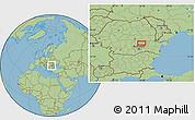 "Savanna Style Location Map of the area around 45°10'22""N,26°25'29""E"