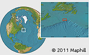 """Satellite Location Map of the area around 45°10'22""""N,56°1'29""""W"""
