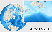 """Shaded Relief Location Map of the area around 45°10'22""""N,56°1'29""""W"""