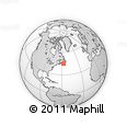 """Outline Map of the Area around 45° 10' 22"""" N, 57° 43' 30"""" W, rectangular outline"""