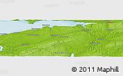 """Physical Panoramic Map of the area around 45°10'22""""N,63°40'30""""W"""