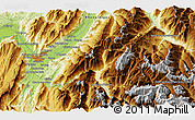 """Physical 3D Map of the area around 45°10'22""""N,6°1'30""""E"""