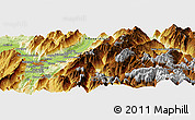 """Physical Panoramic Map of the area around 45°10'22""""N,6°1'30""""E"""