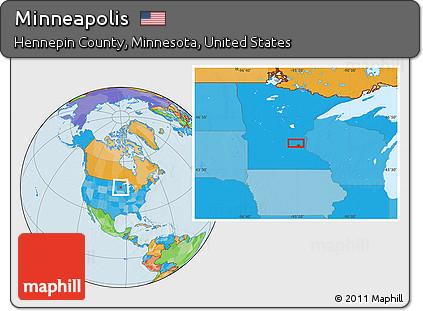 Free Political Location Map Of Minneapolis - Minneapolis minnesota on us map