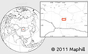 """Blank Location Map of the area around 45°10'22""""N,98°40'30""""E"""