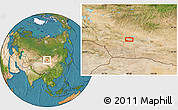"""Satellite Location Map of the area around 45°10'22""""N,98°40'30""""E"""