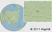 """Savanna Style Location Map of the area around 45°10'22""""N,98°40'30""""E, hill shading"""
