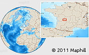 """Shaded Relief Location Map of the area around 45°35'46""""N,0°55'29""""E"""