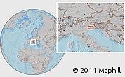 Gray Location Map of Venice, hill shading