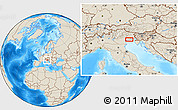 Shaded Relief Location Map of Venice