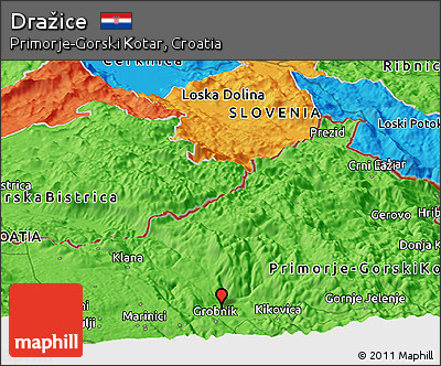 Political Panoramic Map of Dražice
