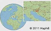 "Savanna Style Location Map of the area around 45°35'46""N,15°22'30""E"