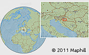 Savanna Style Location Map of Budaševo, hill shading