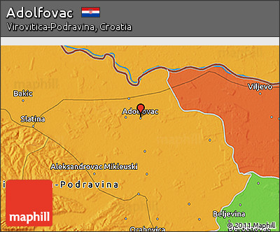 Political 3D Map of Adolfovac