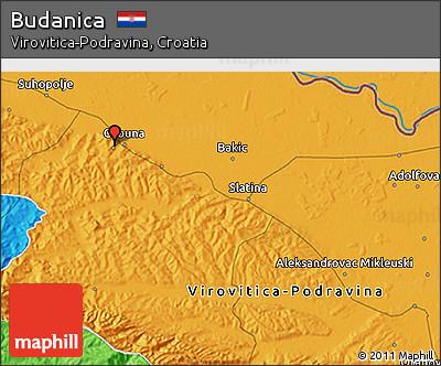 Political 3D Map of Budanica