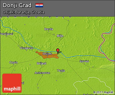 Physical Map of Donji Grad