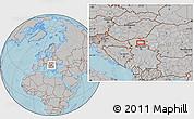 Gray Location Map of Vojvoda Stepa, hill shading