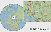 Savanna Style Location Map of Vojvoda Stepa, hill shading