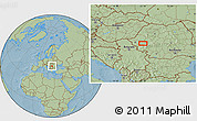"""Savanna Style Location Map of the area around 45°35'46""""N,22°10'29""""E, hill shading"""