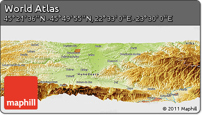 """Physical Panoramic Map of the Area around 45°35'46""""N,23°1'29""""E"""