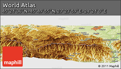 """Physical Panoramic Map of the Area around 45°35'46""""N,23°52'30""""E"""