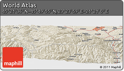 """Shaded Relief Panoramic Map of the Area around 45°35'46""""N,23°52'30""""E"""