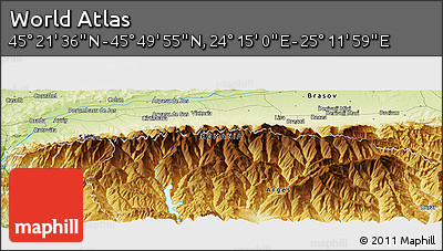 """Physical Panoramic Map of the Area around 45°35'46""""N,24°43'30""""E"""