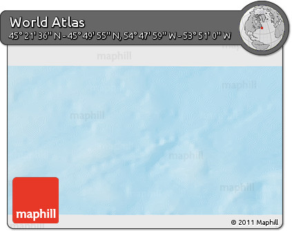 """Shaded Relief 3D Map of the Area around 45°35'46""""N,54°19'30""""W"""