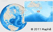 """Shaded Relief Location Map of the area around 45°35'46""""N,54°19'30""""W"""