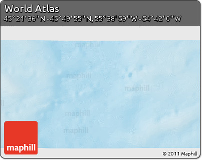 """Shaded Relief 3D Map of the Area around 45°35'46""""N,55°10'29""""W"""