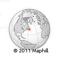 """Outline Map of the Area around 45° 35' 46"""" N, 55° 10' 29"""" W, rectangular outline"""