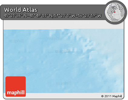"""Shaded Relief 3D Map of the Area around 45°35'46""""N,56°52'30""""W"""