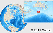 """Shaded Relief Location Map of the area around 45°35'46""""N,56°52'30""""W"""
