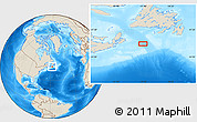 """Shaded Relief Location Map of the area around 45°35'46""""N,57°43'30""""W"""