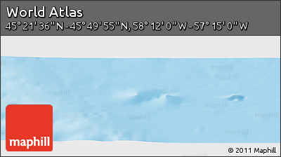 """Physical Panoramic Map of the Area around 45°35'46""""N,57°43'30""""W"""