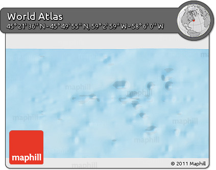 """Physical 3D Map of the Area around 45°35'46""""N,58°34'30""""W"""